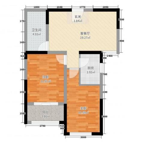 广厦聚隆广场2室1厅1卫1厨77.00㎡户型图