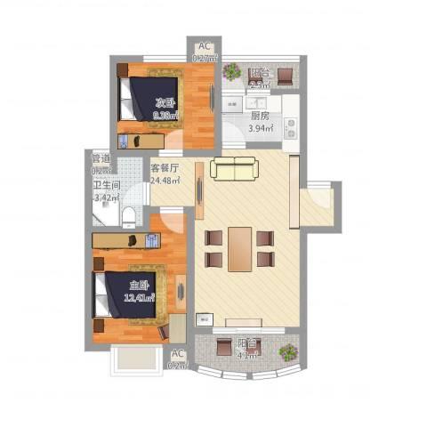 南苑小区2室1厅1卫1厨90.00㎡户型图
