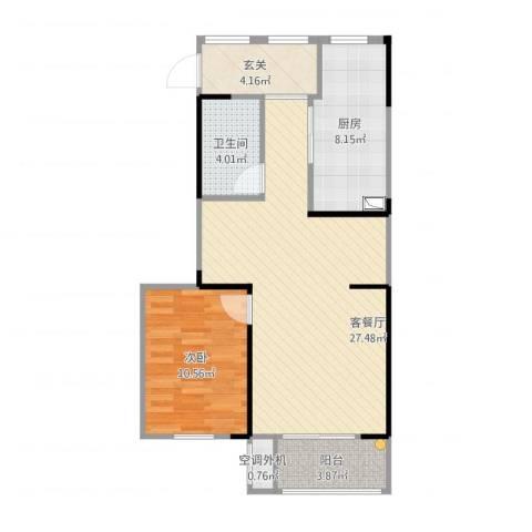 华润城立方1室1厅2卫1厨81.00㎡户型图