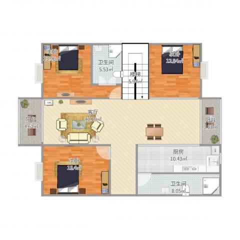 罗村花苑B区7023室1厅2卫1厨162.00㎡户型图