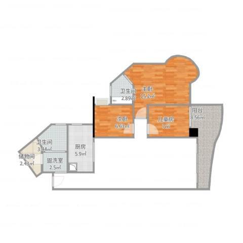 富力御龙庭3室1厅2卫1厨76.00㎡户型图