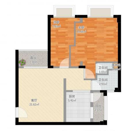沙面新城2室1厅3卫1厨87.00㎡户型图