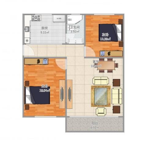 桥东小区2室1厅1卫1厨110.00㎡户型图