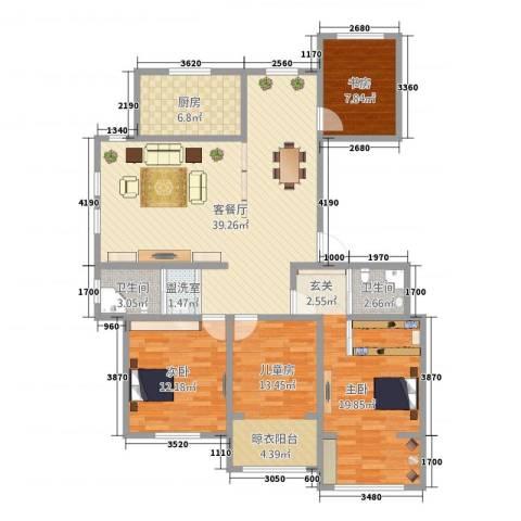 金色水岸4室2厅2卫1厨150.00㎡户型图