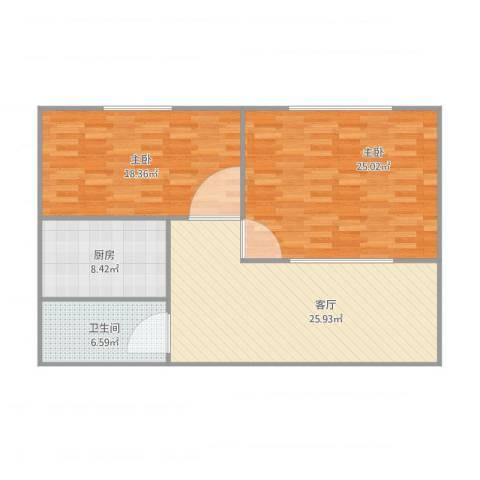 万豪城2室1厅1卫1厨112.00㎡户型图