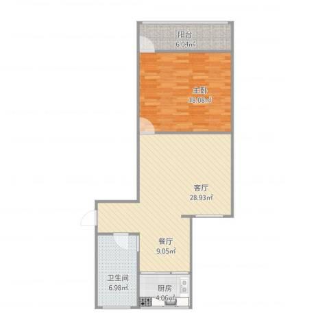 恒泰花园1室1厅1卫1厨86.00㎡户型图