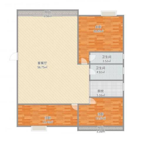 御景苑美景阁6053室1厅2卫1厨154.00㎡户型图