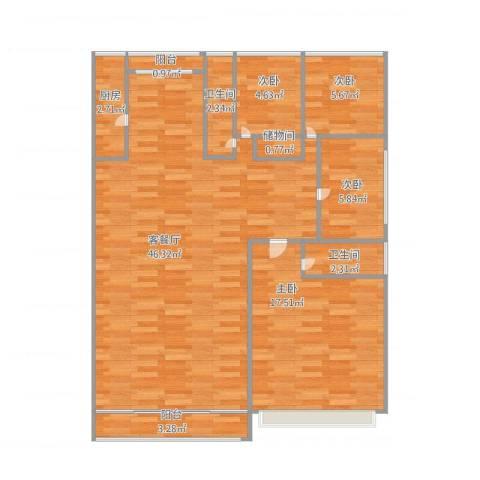 大华锦绣华城第16街区4室1厅2卫1厨125.00㎡户型图