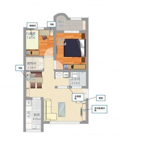 华颖花园2室1厅1卫1厨78.00㎡户型图
