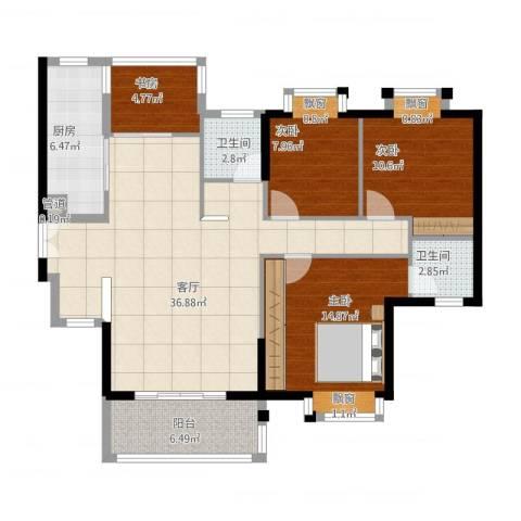 莲花尚院4室1厅3卫1厨133.00㎡户型图
