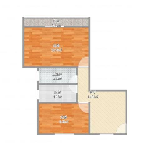 莘松七村2室1厅1卫1厨66.00㎡户型图