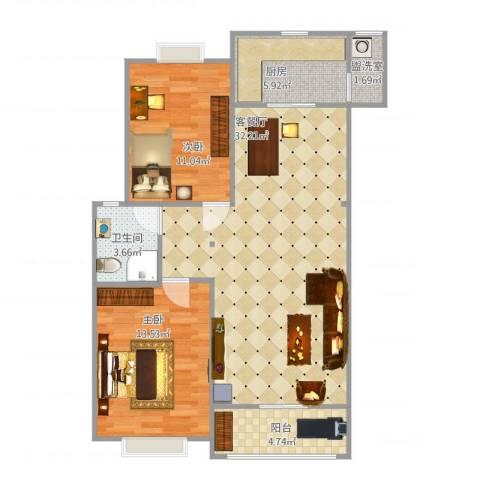 中华世纪城2室2厅1卫1厨98.00㎡户型图