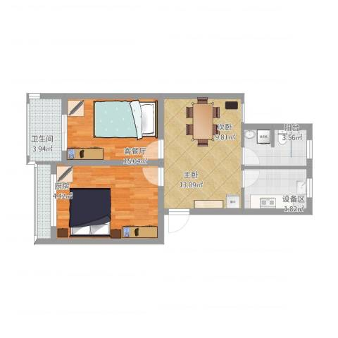 宝邻苑2室1厅1卫1厨75.00㎡户型图