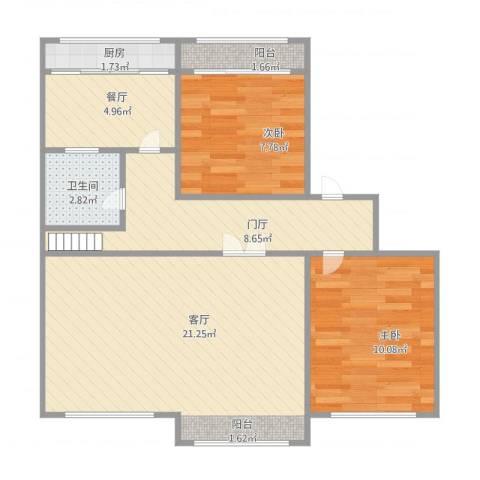 翠竹小区2室1厅1卫1厨83.00㎡户型图