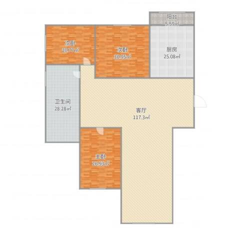 翠竹小区3室1厅1卫1厨332.00㎡户型图