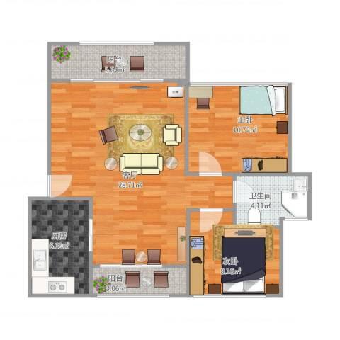 鹏丰苑2室1厅1卫1厨72.58㎡户型图
