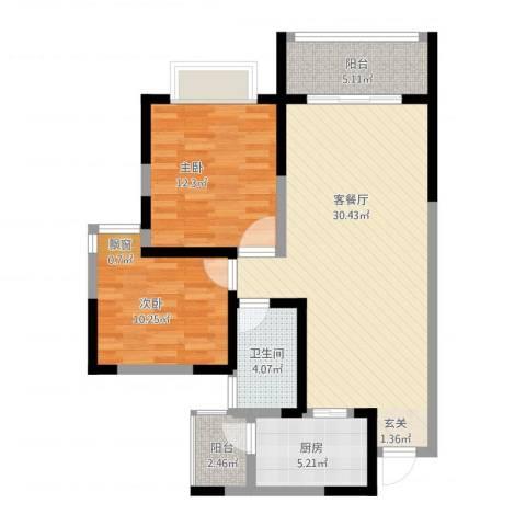 世通和府2室1厅1卫1厨101.00㎡户型图