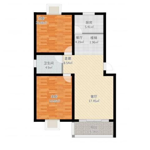 望馨花苑2室1厅1卫1厨110.00㎡户型图