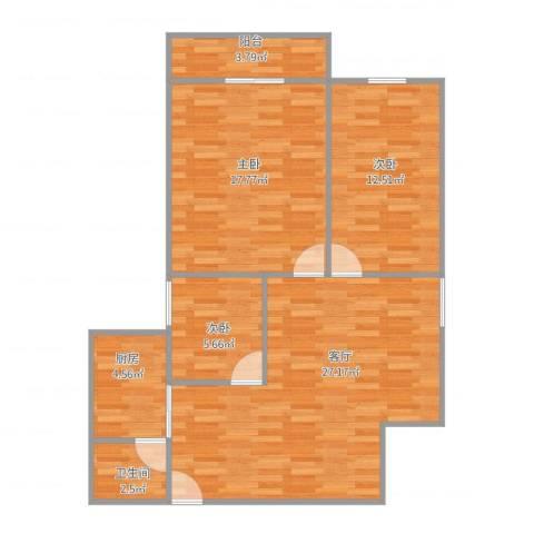 绿茵翠庭3室1厅1卫1厨99.00㎡户型图