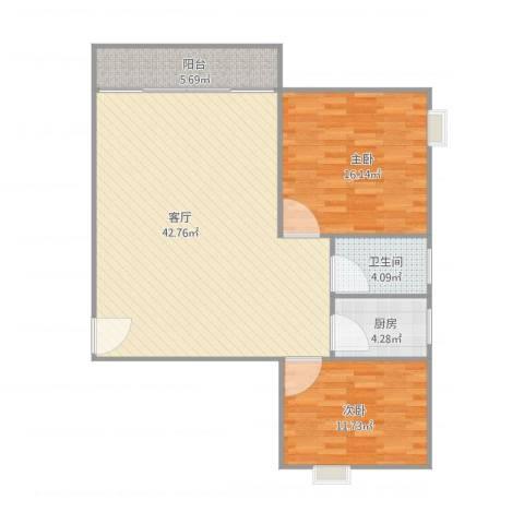 华翠苑2室1厅1卫1厨112.00㎡户型图
