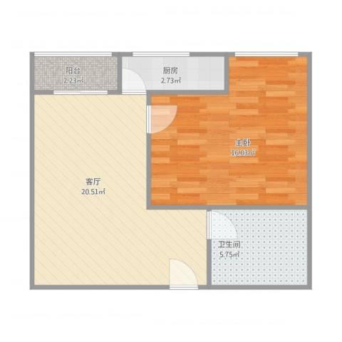 天御盈品1室1厅1卫1厨64.00㎡户型图