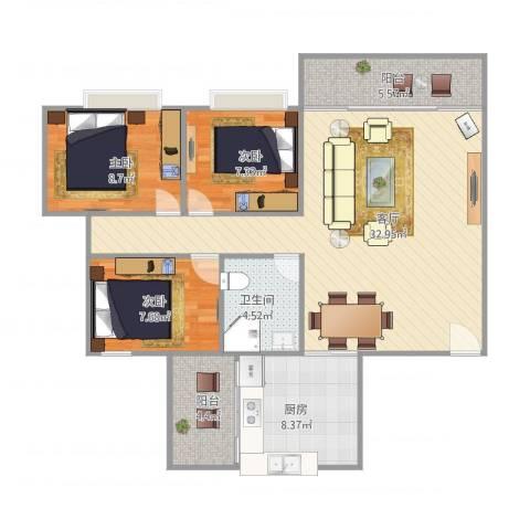 黄岐第一城3室1厅1卫1厨108.00㎡户型图