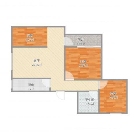 三塘桂园2室1厅1卫1厨75.00㎡户型图