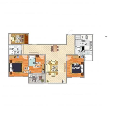 天正天御溪岸4室1厅2卫1厨118.00㎡户型图