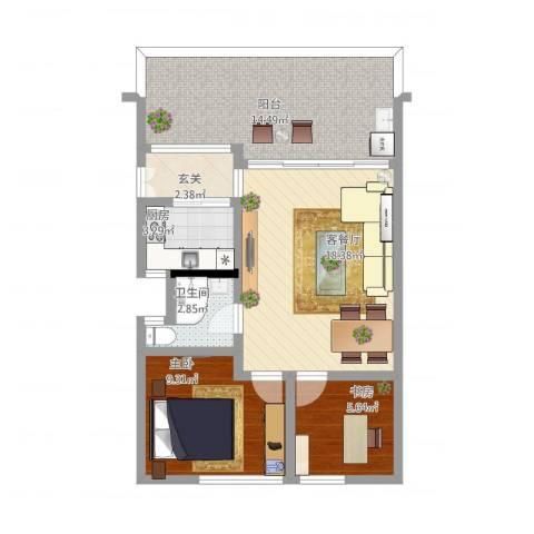 祈福新村C区2室1厅1卫1厨82.00㎡户型图