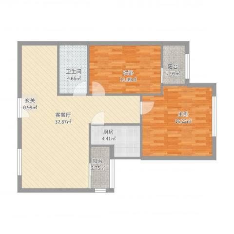 南湖东园一区2室1厅1卫1厨105.00㎡户型图