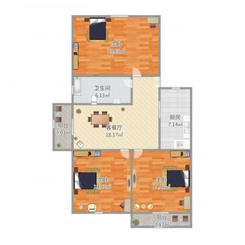乾溪二村3室1厅1卫1厨115.00㎡户型图