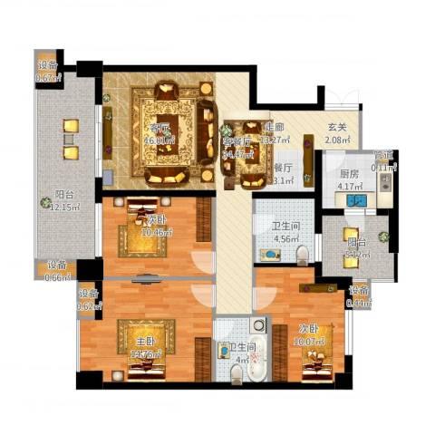 玉泉苑3室1厅2卫1厨147.00㎡户型图