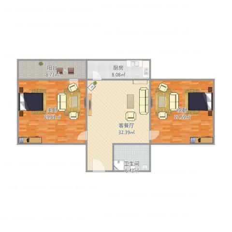 六里山南路宿舍2室1厅1卫1厨149.00㎡户型图