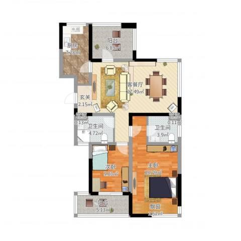 莱茵郡2室1厅2卫1厨121.00㎡户型图