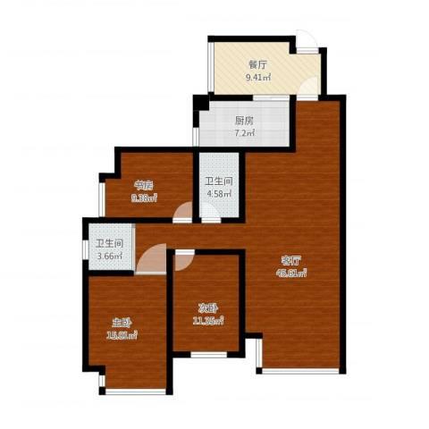 坤泰新界3室2厅2卫1厨152.00㎡户型图