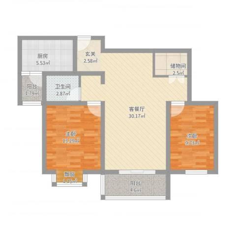 第五元素2室1厅1卫1厨103.00㎡户型图