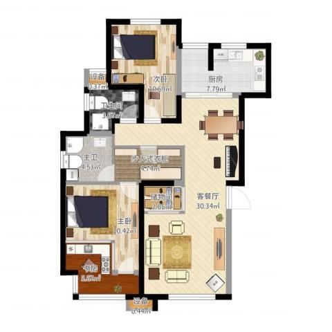 天房美域3室1厅1卫1厨117.00㎡户型图