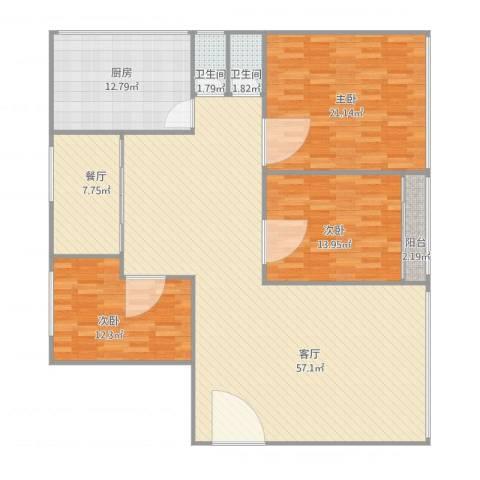 红棉新村7楼3室2厅2卫1厨174.00㎡户型图