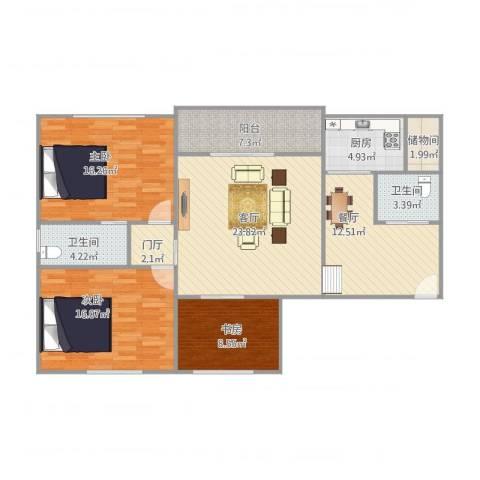 春江名都3室2厅2卫1厨136.00㎡户型图