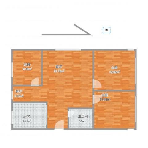 京都苑3室1厅1卫1厨118.00㎡户型图
