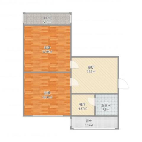 庄伙小区2室2厅1卫1厨103.00㎡户型图
