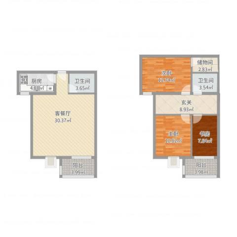 东方罗马花园3室1厅2卫1厨132.00㎡户型图