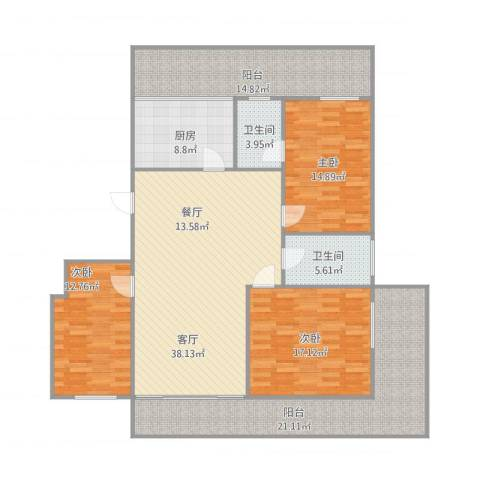 华远西小区3室1厅2卫1厨183.00㎡户型图