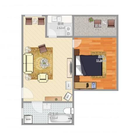 富林居1室1厅1卫1厨58.00㎡户型图