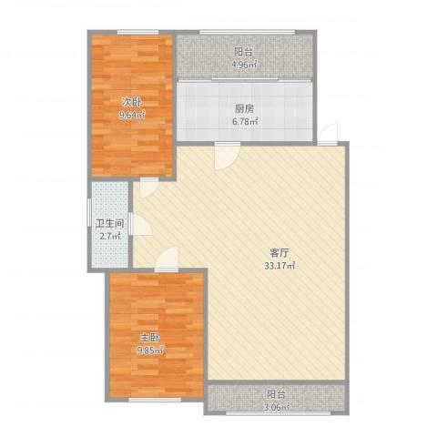 红梅小区2室1厅1卫1厨95.00㎡户型图