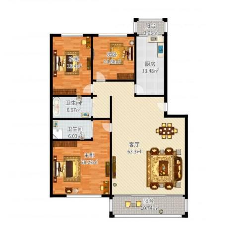 天通苑本五区3室1厅2卫1厨225.00㎡户型图