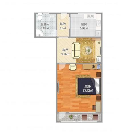 华灵路881弄小区1室1厅1卫1厨58.00㎡户型图