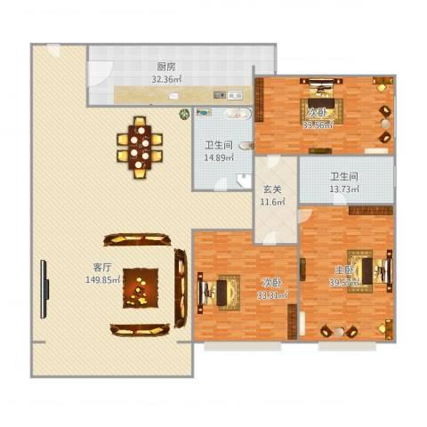 天通苑北一区3室1厅2卫1厨427.00㎡户型图