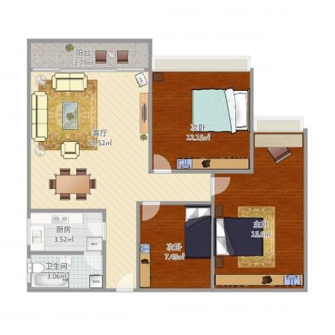 隆基怡苑77方三房户型图3室1厅1卫1厨96.00㎡户型图