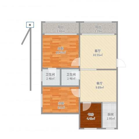莫愁新寓3室2厅2卫1厨80.00㎡户型图